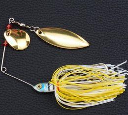 Spinner приманки головы Онлайн-Горячий Spinner Bait с 2-мя лезвиями резиновые Jig рыболовную приманку Ложка для River Lake Свинцовые Head щука Приманки