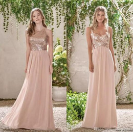Cheap Rose Gold Sequins Top Long Chiffon Beach 2017 Bridesmaid Dresses Halter Backless A Line Straps Ruffles Blush Pink Maid Of Honor Gowns