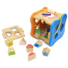 Funny wooden toy educational wisdom house learning shape number digital color box clock matching game push along toddle baby kids toy new