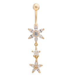 Argentina Star Flower CZ Piercings Joyería Mujer Sexy Belly Button Anillo Long Dangle Ombligo Bar Oro Dangle Body Piercing Piercing Rojo / Rosa sexy womens gold on sale Suministro