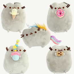 Crème glacée animale en Ligne-Pusheen chat jouets en peluche 5 design Pusheen Cookie Ice Cream Donut arc-en-chat peluche poupée jouets en peluche pour les cadeaux d'enfants KKA1425