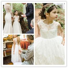 New Lace Flower Girl Dresses V-Back Party Pageant Communion Dress Ankle Length Little Girls Dress For Wedding