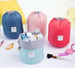 Hot Barrel Shaped Travel Cosmetic Bag Nylon High Capacity Drawstring Elegant Drum Wash Bags Makeup Organizer