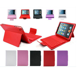 Wholesale Bluetooth Wireless Keyboard Leather Case For iPad Mini Ipad Air Protective Slim Lined For Ipad With Keyboard Built in Pieces DHL