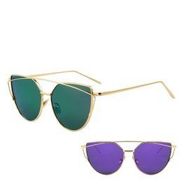 Espejo de cristal clásico en venta-Ojo de gato Hot Sale Mirror Flat Lense Gafas de sol para gafas de gato Gafas de sol clásicas del marco del oro de Rose de los gemelos de la marca de fábrica del diseñador para las mujeres