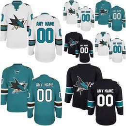Factory Outlet Cheap San Jose Sharks Custom Blue White Black Sewing On Best Quality Customized Your Own Name Number Ice Hockey Jerseys