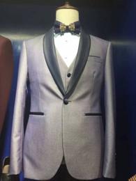 2017 Nouveau Real Image Slim Fit Grey Suits EN stock Groom Tuxedos best man Costume de mariée pour hommes Smoking (Jacket + Pants + vest) à partir de images conviennent le mieux fournisseurs
