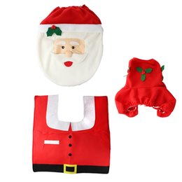 Wholesale EAST EAST New XMAS Santa Toilet Seat Cover Rug Bathroom Mat Set Christmas Decorations Supplies buy shipped by DHL