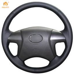 Mewant Black Genuine Leather Car Steering Wheel Cover for Toyota Highlander Camry 2007 2008 2009 2010 2011