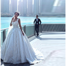 Luxury Lace Ball Gown Wedding Dresses Sweetheart Applique Organza Sleeveless A-Line Bridal Gowns Cathedral Pearls Backless Wedding dress