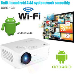 2017 quad lcd Vente en gros-H2 5500Lumens projecteur plein hd 1080P Quad Core Android 4.4 WiFi Smart 1080P 3D LCD Home Cinéma TV LED Projecteur Vidéo Beamer quad lcd sortie