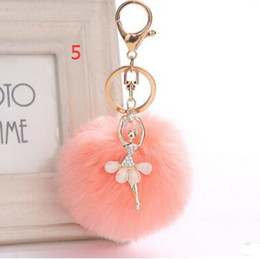 3.15 Inch Girl Women Fur Ball Rhinestone Ballerina Keychain Ballet Dancing Girl Handbag Accessories Car Key Chain For Bag 30pcs free shippin