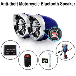 Wholesale 3 inch Skull Motorcycle Bluetooth Audio FM Radio Car Amplifier Speaker Hi Fi Sound Anti theft Alarm MP3 USB Phone Charger
