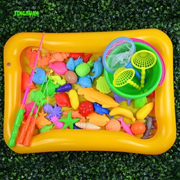 Wholesale set Magnetic Floating Fish Toy Game Kids Rods nets Bucket pool Magnet Fishing Children Toys Indoor Outdoor Fun