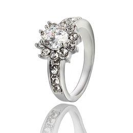 Romantic Rose Gold Plated Zircon Rhinestone Ring Gemstone Jewelry Crystal Zircon Ring Jewelry For Women ZR095