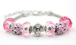 Promotion ruban rose sein Nouvelle vente en gros Breast Cancer Awareness Bracelet Bijoux Breast Cancer Pink Ribbon Angel Bracelets pour Breast Cancer Awareness Gift