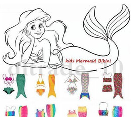Mignon cosplay fille en Ligne-Cute Set 3 Set Baby Girls Sirène Tail Costume Bikini Enfants Enfants Mermaid Tails Maillot de bain Shorts Cosplay HHA1019