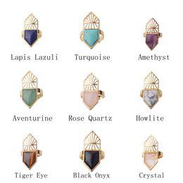 Wholesale 10PCS Natural Semi Precious stone Gemstone Chakra Healing Shield Rings Adjustable Women crystal Rings