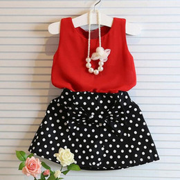 2016 Girls Suit Outfits Children Kids Short Sleeves T-shirt Wave Point Shorts Skirts Princess Dresses Girl Pleated Skirt