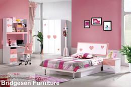 Wholesale MDF Teenage Girl Kids Bedroom Furniture Set with Door Wardrobe Nightstand Bookcase Bed Pink