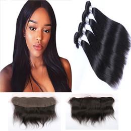 Resika 4 Bundles 100g pcs Straight Brazilian Virgin Hair Weave With 13*4 Lace Frontal Brazilian Virgin Hair Weave Bundles Free shipping