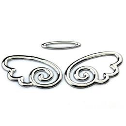 Wholesale 10 Pair D Chrome Angel Wings Totem Emblem Car Truck Motor Auto Decal Badge Sticker Silver Golden