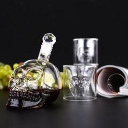 Crystal Skull Shotglass,Bottle,Double Layer Transparent Skull Pirate Shot Glasses Drink Cocktail Beer Cup,Wine Cup,Creative Halloween Mug