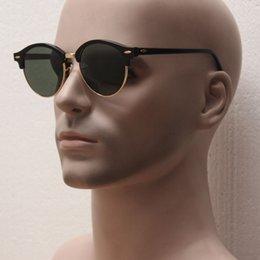 Gafas de sol de color rosa en venta-El club icónico redonda estilo 4246, marco de acetata marcos dorados lente de cristal gafas de sol, las mujeres de marca de vacaciones de color rosa mirrro lente