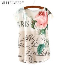 Vente en gros- MITTELMEER Nouveau T-shirt en coton femmes à manches courtes O-Neck T-shirt imprimé floral Rose t-shirt Hauts d'été pour les femmes Fashion Tees floral print tees women deals à partir de imprimé floral t-shirts femmes fournisseurs