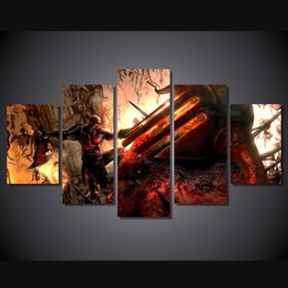 5 Pcs Set Framed HD Printed God Of War Kratos Movie Picture Wall Art Canvas Room Decor Poster Canvas Oil Painting