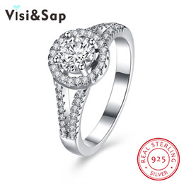 Visisap Anniversary rings for women AAA cubic zirconia Pure Solid 925 Sterling silver wedding jewelry Elegant Ring VSVR129