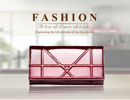 Contact's Female Women Wallet High-quality Brand Patent Leather Wallet Leather Credit Card Holder Red Clutch Long Trifold Wallet