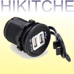 Wholesale Car Light For Cigarette Lighter - Car Cigarette Lighter Dual USB Socket Charger DC 12V 1.0A 2.1A Adapter for GPS Mobile Blue LED Light Car Charger