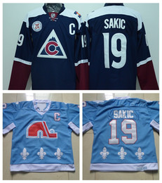 Wholesale Mens Quebec Nordiques Throwback Joe Sakic Hockey Jerseys Baby Blue Vintage CCM Colorado Avalanche Joe Sakic Stitched Jersey S XXXL
