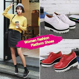 Women Casual Shoes High Heel Platform Women Wedge Shoes Thick Soled Female Leather Shoes for Women Height Increase
