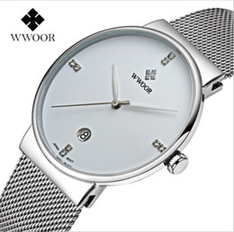 2017 Famous Brand WWOOR Watches Men Stainless Steel Mesh Band Fashion Analog Quartz Watch Ultra Thin Blue Dial Clock Male
