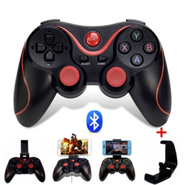 Joystick inalámbrico androide en Línea-T3 Bluetooth Gamepad para Android Phone Pad Smart Box joystick de la PC inalámbrica Bluetooth Joypad Game Controller con soporte móvil