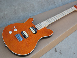 Hot Sale Factory Custom Left-hand Electeic Guitar with Orange Body,Quilted Maple Veneer,Can be Changed as Request