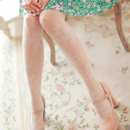 Wholesale Sweet Beautiful Sheer Jacquard Vintage Rose Flower Lace Women s Pantyhose White Tights for Girl