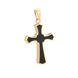 Black Enameled Cross Pendant Men Wholesale Stainless Steel Necklace Jewelry Male