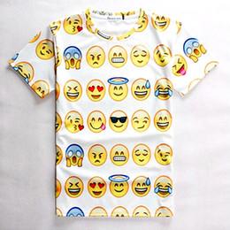 Shirt de douille d'impression des animaux gros en Ligne-Vente en gros-Femmes / Hommes Print 3D Emoji t-shirts Smiley Emotion Lovely Funny Cartoon T-Shirt Short Sleeve Tops Tee pour garçons Filles