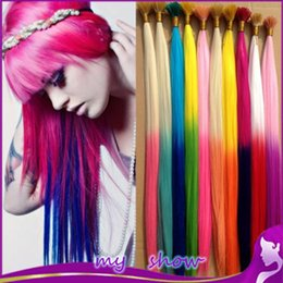 Wholesale cm mixed color gradient color feather hair extension multicolour hair i tip extensions ball hair extension