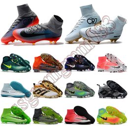 New women mens high ankle football boots Ronaldo CR7 Mercurial Superfly V soccer shoes Magista obra II FG ACE 16 PureControl soccer cleats