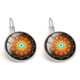 Brand New Fashion Glass Cabochon Mandala Earrings Copper Colorful Women Charm Earring Jewelry Wholesale Drop Shipping