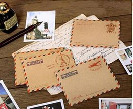 Papelería sobre de papel en venta-10 mini sobres de la imagen del correo aéreo de x Mini efectos de escritorio coreanos lindos de Kawaii de la manera del sobre de París de la vendimia retra para las tarjetas