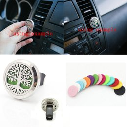 Wholesale Car Air Freshener L Stainlss Steel Tree Locket mm Vent Aromatherapy Essential Oil Diffuser free refill pads