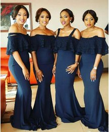 2017 Dark Navy African Nigerian Sequins Mermaid Bridesmaid Dresses Spaghetti Straps Floor Length Maid of Honors Dresses For Wedding Party