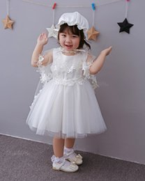 Infant Baby Girls Lace Dress Princess Party Wedding Bridesmaids Dress Christening Gown Birthday Gifts Hat+Voile+Dress 3pc