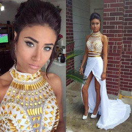 Wholesale Spandex Two Piece Dress - Faisata Sexy White and Gold African Prom Dresses 2017 Mermaid Two Piece High Slit Chiffon Women Formal Evening Party Gowns Real Picture