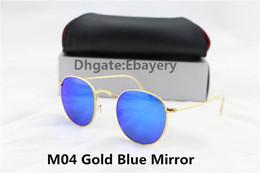 Lente de espejo en venta-50pcs DHL envío gafas de sol de gafas de sol gafas de sol diseñador de marca de oro de metal flash de color azul espejo de 50 mm de vidrio mujeres hombres con caja de caja